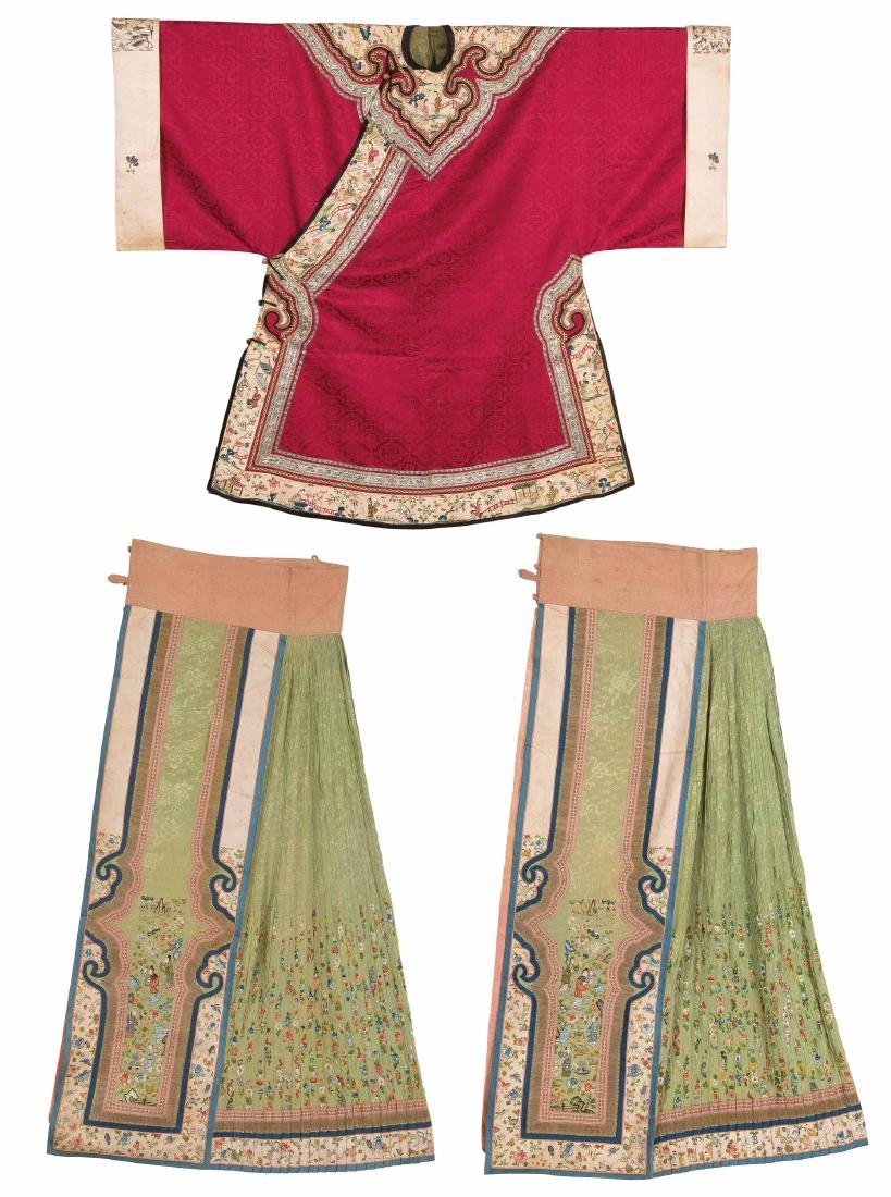 An Embroidered Silk Pink-Ground Woman's Coat And An
