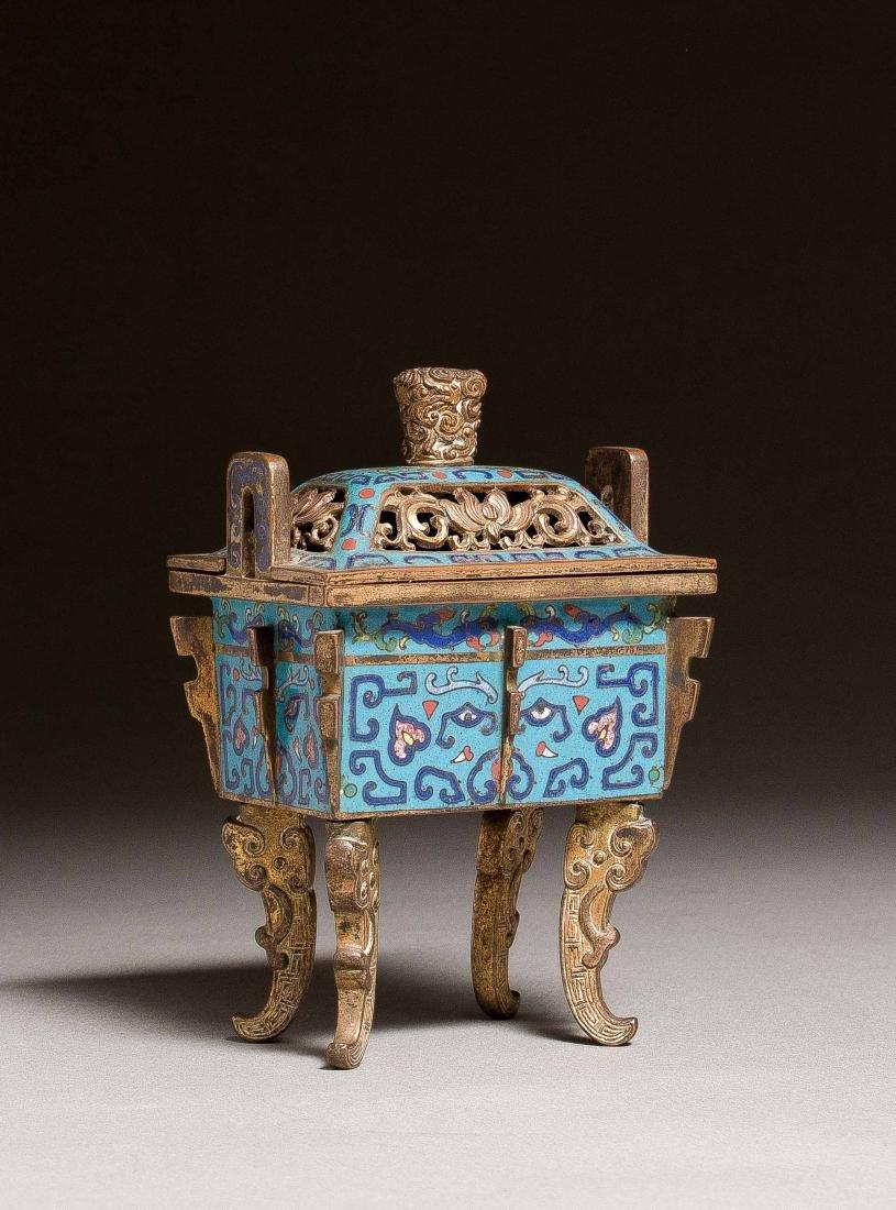 A Cloisonne Enamel Ding-Shaped Incense Burner