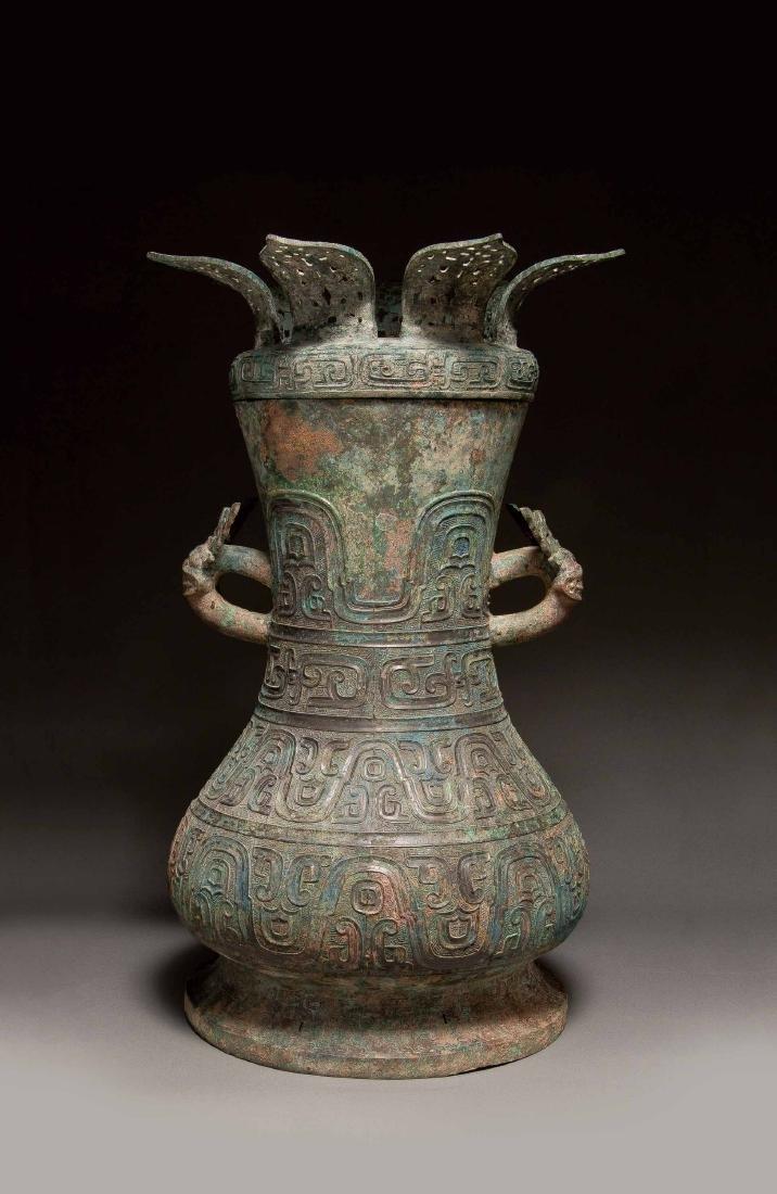 """A Bronze """" Beast"""" Hu Vessel, Spring and Autumn Period"""