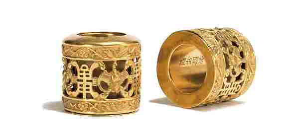 Two Openwork Gold Archer's Ring