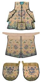 A Set Of Yellow Embroidered Silk Dress For Military