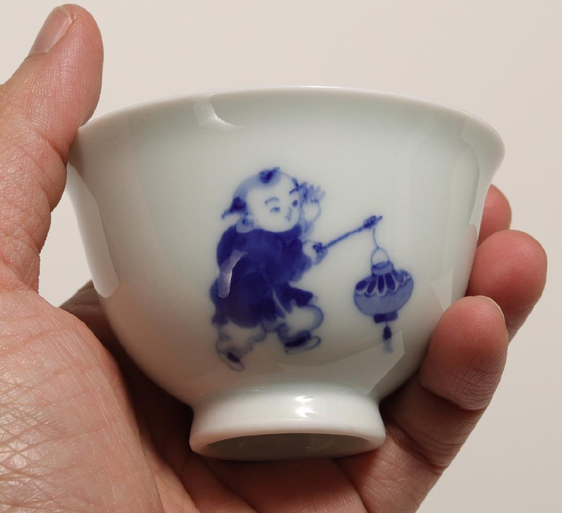 THREE PIECES OF XIAOFANG KILN BLUE AND WHITE CUP - 6