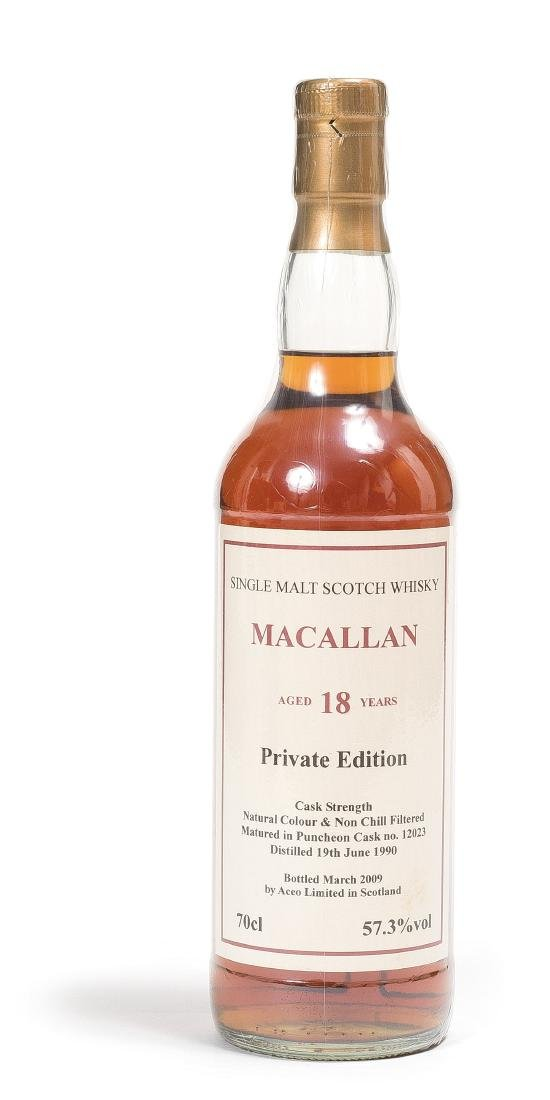 A BOTTLE OF MACALLAN 18 WHISKEY, 1990