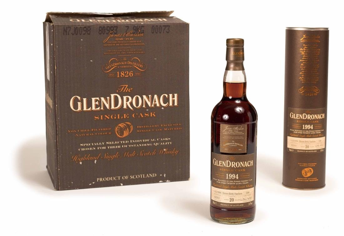 SIX BOTTLES OF GLENDRONACH 20 SHERRY WHISKEY, 1994