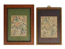 Two Silk Brocade Panels, Qing Dynasty