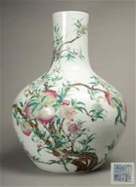 "A Massive Famille Rose ""Peach"" Globular Vase, Qing"