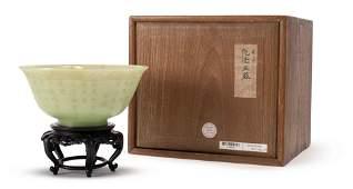 "An Imperial Greenish Jade Gold-inlaid ""Poem"" Bowl, Qing"