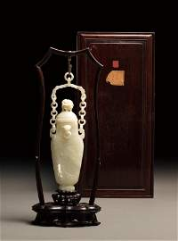 An Imperial White Jade Chain-Vase, Qing Dynasty-Kangxi