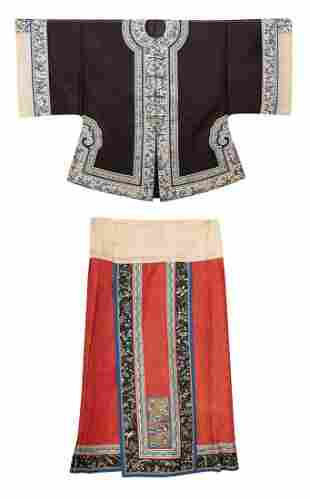 AN EMBROIDERED SILK WOMAN'S DRAGON COAT AND A SKIRT,
