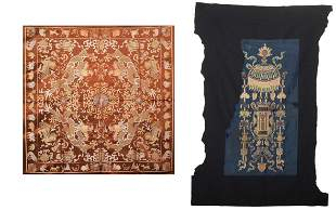 AN EMBROIDERED SILK DRAGON TAPESTRY AND A LANTERN