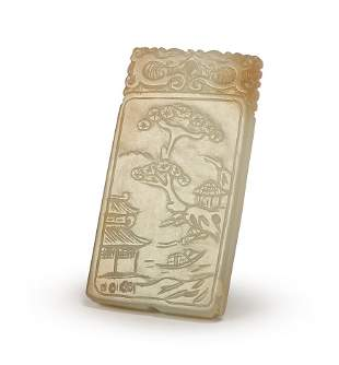 A CARVED WHITE JADE PLAQUE, QING DYNASTY