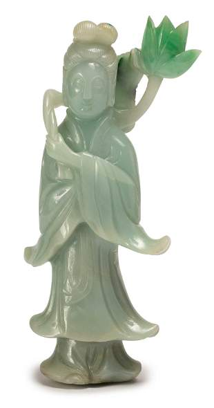 A CARVED JADEITE GUANYIN, QING DYNASTY