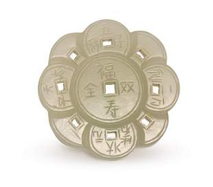 A CARVED WHITE JADE COIN PENDANT, QING DYNASTY