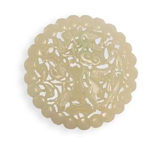 A CARVED OPENWORK WHITE JADE BIRD PENDANT, QING DYNASTY
