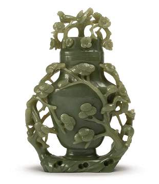 A SPINACH-GREEN JADE VASE, QING DYNASTY