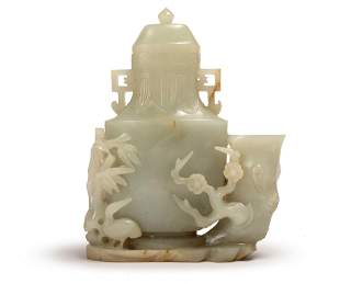 A WHITE JADE VASE WITH HANDLES, QING DYNASTY