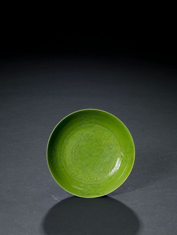 1: A Green-Glazed Dish With Design of Dragon