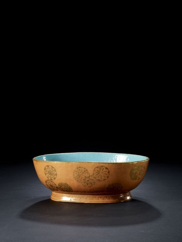 6: A Coral-Ground and Gilt Painted Tureen