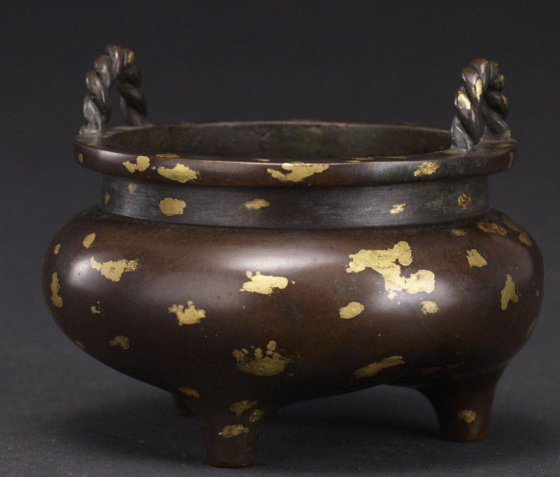 6: A Well-Cast Gilt-Splashed Bronze Censer
