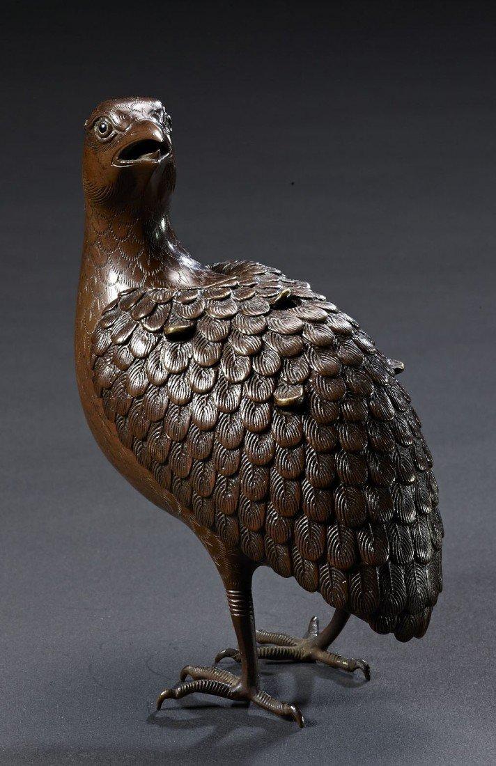 7: A Japanese Bronze Quail Shaped Incense Burner