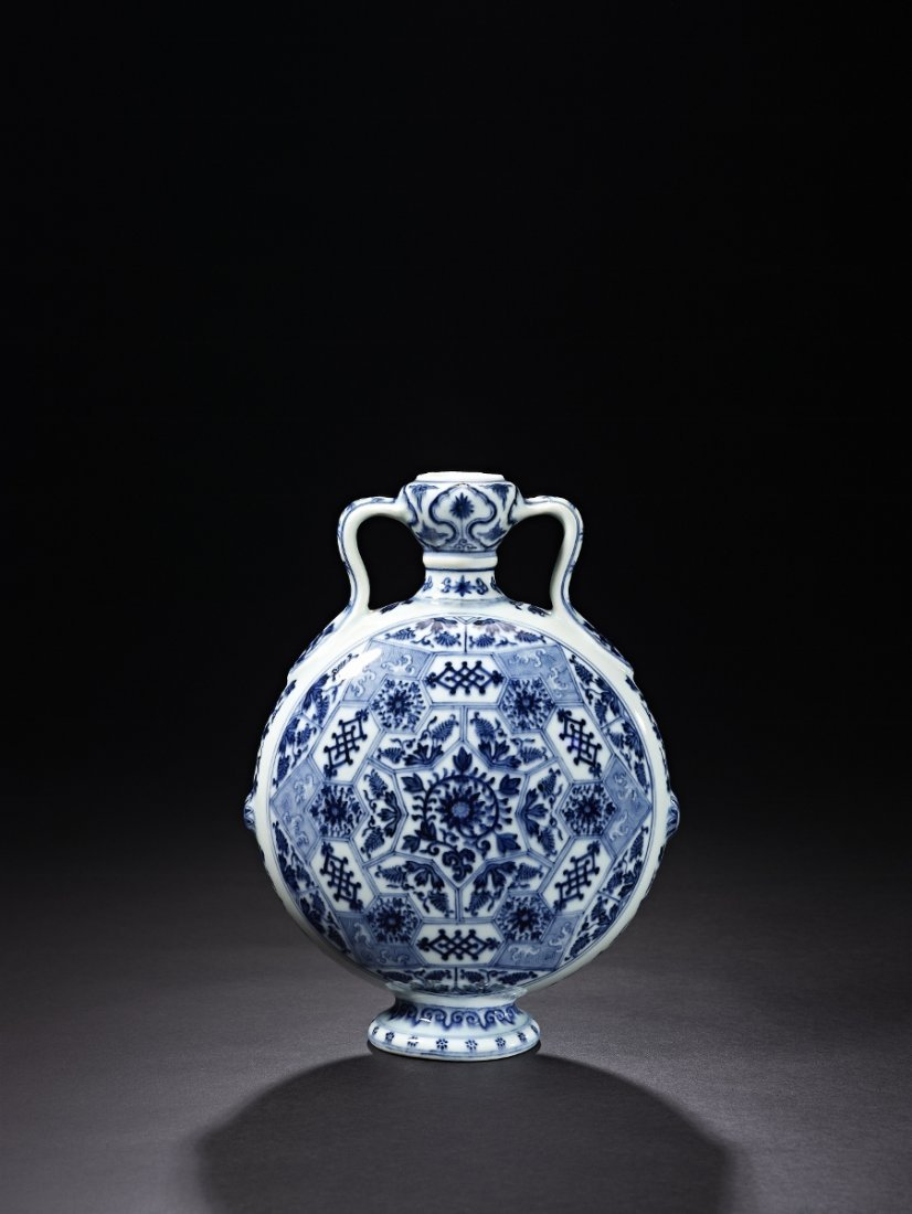 5: A Fine and Very Rare Blue and White Moonflask
