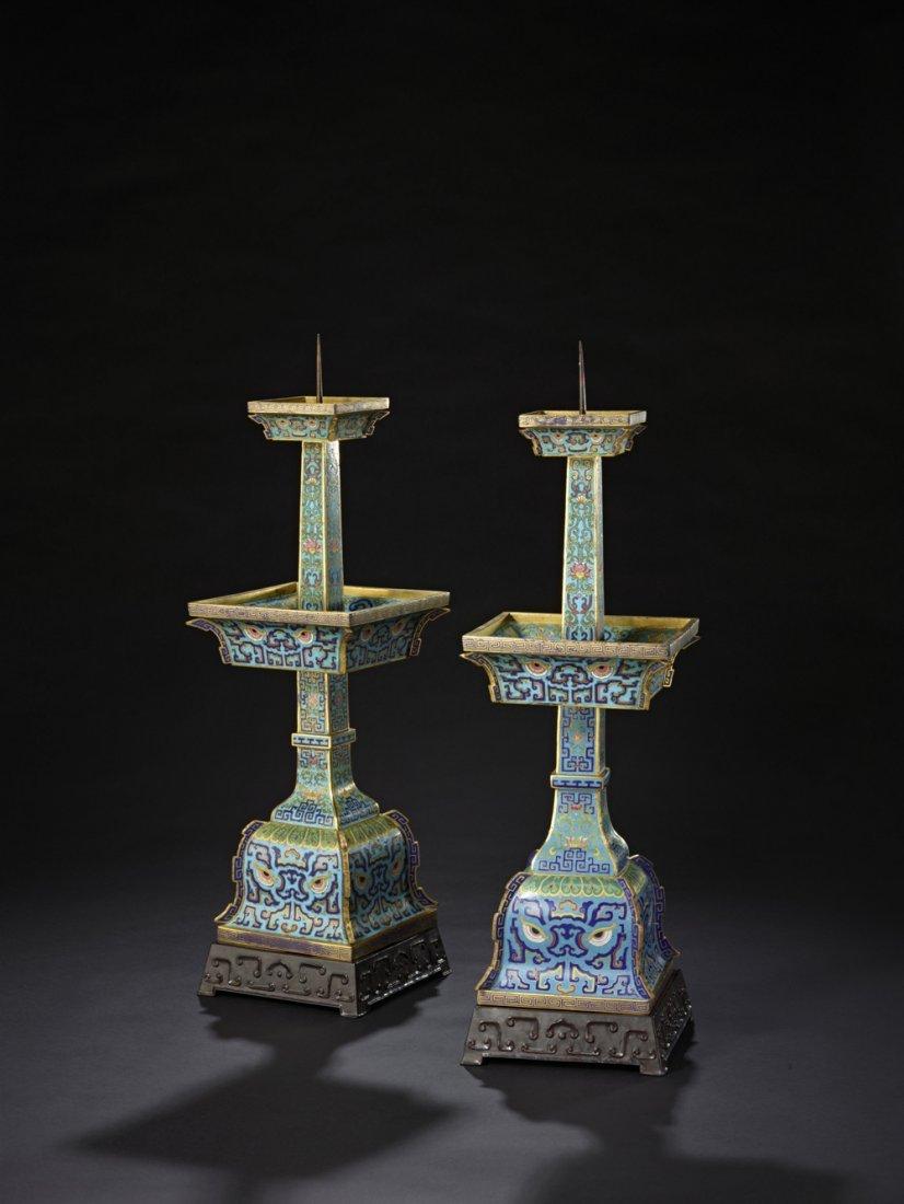 6: A Pair of Imperial Cloisonne Enamel Candlesticks