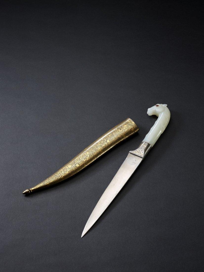 15: A Chinese White Jade Horse Hilt Mughal Steel Dagger
