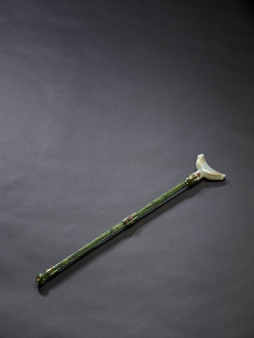 18: A Jewelled Mughal WhiteJade and Jasper Scepter