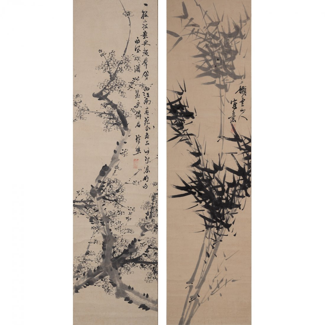 BAMBOO AND PLUM BLOSSOMS BY XIE GUANQIAO (1811-1864)
