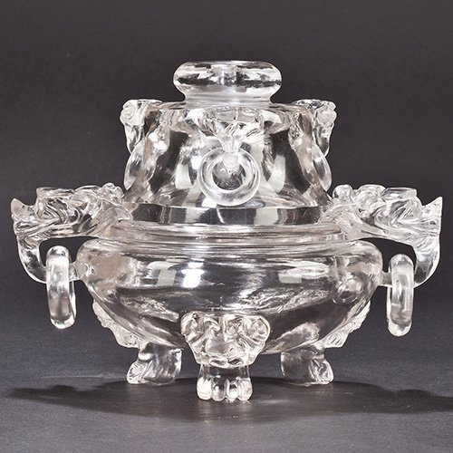 A CARVED CRYSTAL TRIPOD CENSER AND COVER