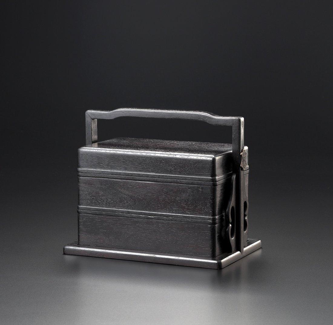 A ZITAN TWO-TIER BOX