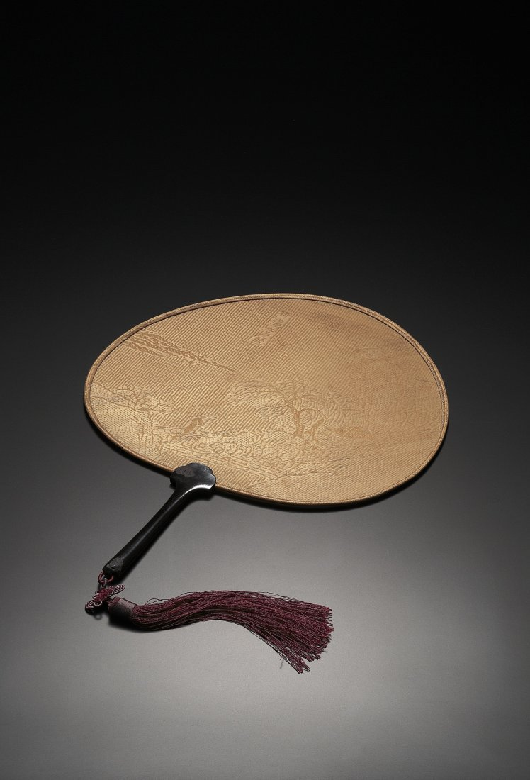 A DOUBLE-SIDED BAMBOO 'LANDSCAPE AND FIGURE' FAN