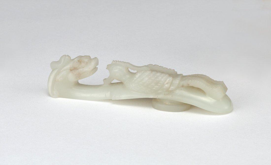 A White Jade 'Drangon and Phoenix' Belthook