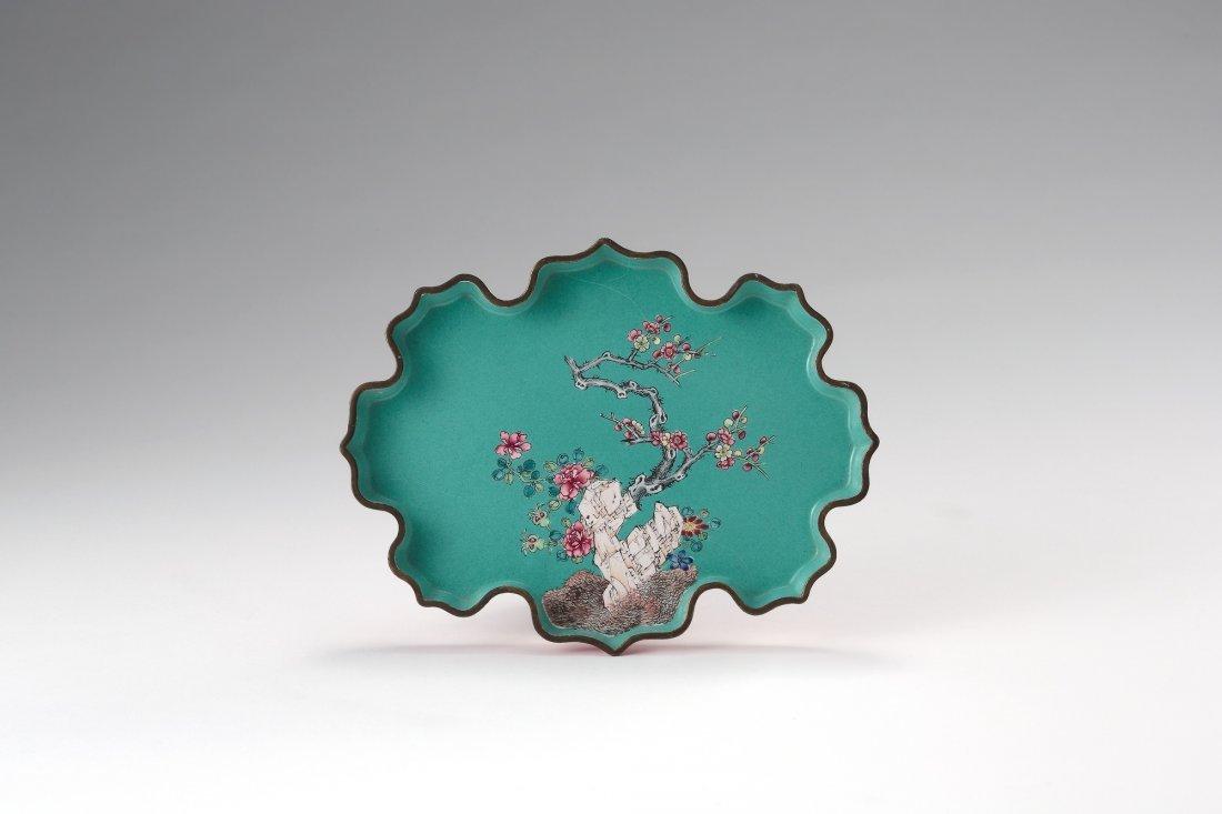 A Bronze Enamelled 'Flower' Dish