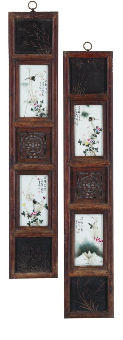 A Set of Four Famille-Rose Plaques By Liu Yu Cen