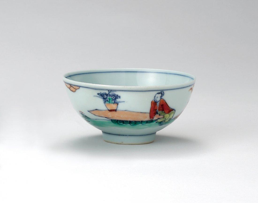 A Doucai 'Tao Yuan Ming and Chrysanthemum' Bowl