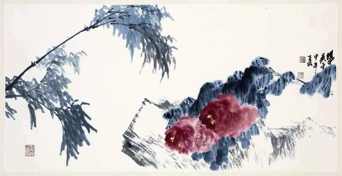 WU PING(b.1920), FLOWERS AND A CALLIGRAPHY