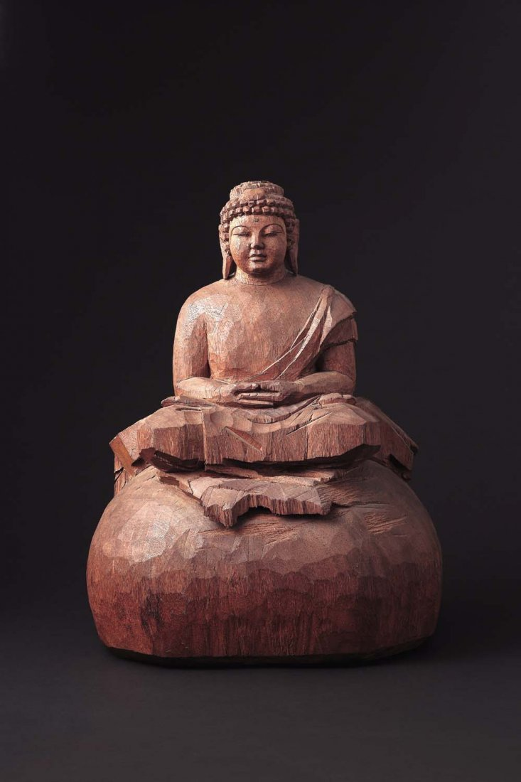 A Finely Carved Wood Statue By Zhu Ming