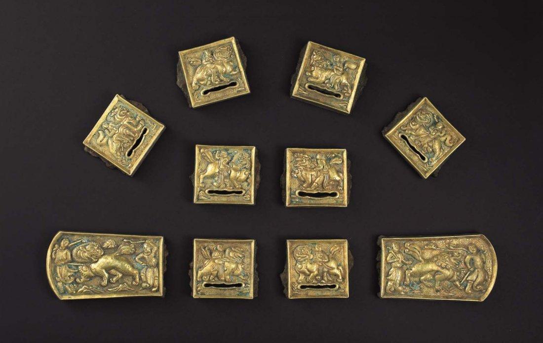 A Set Of Gilt Bronze Belt Plaques, LiaoDynasty