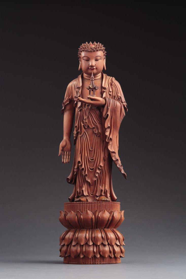A Carved Sandalwood Of Sakyamuni, Qianlong Period