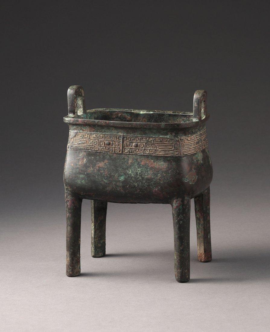 A Bronze Rectangular Ritual Food Vessel Ding, Shang