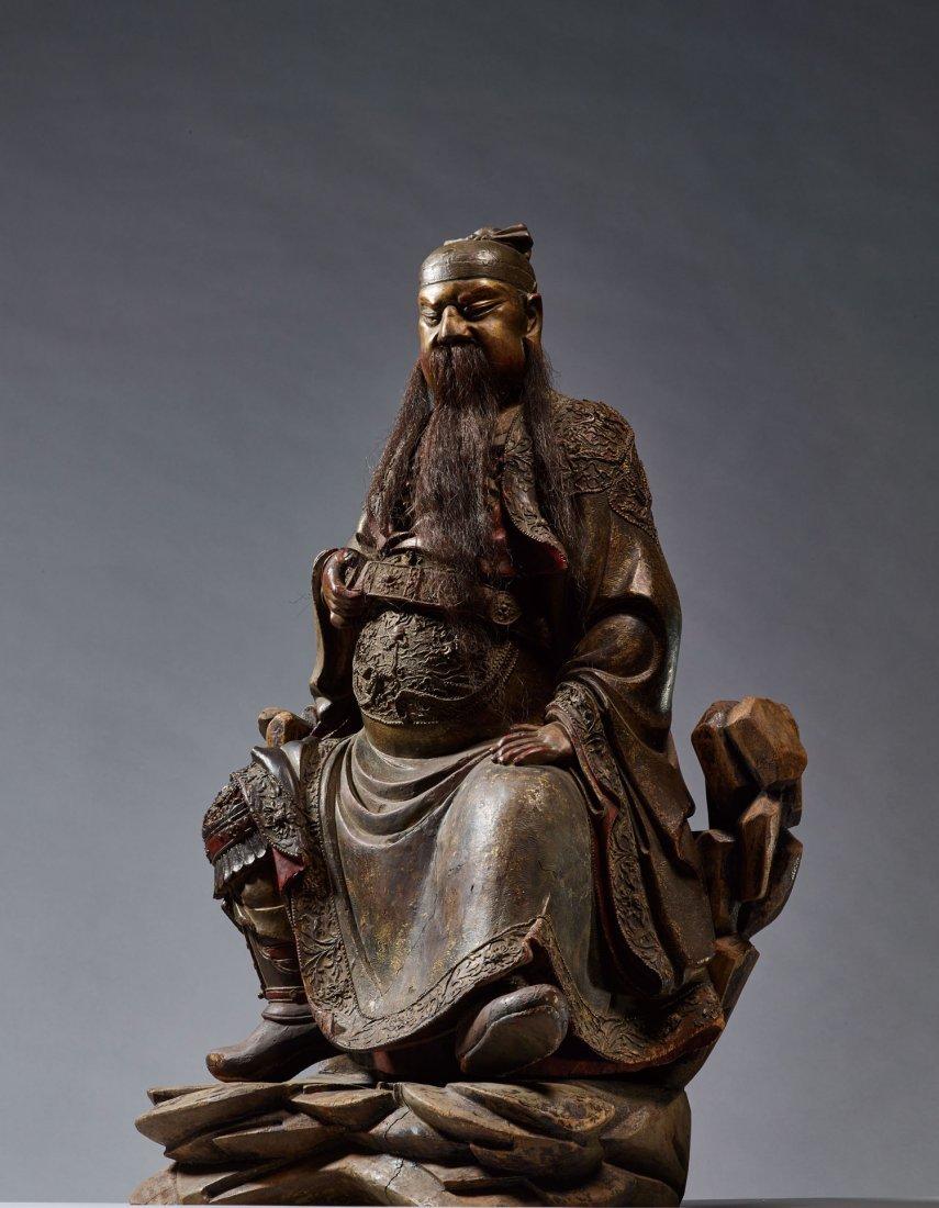 A Shaxuan Style Wood Figure Of Guanyu, Ming