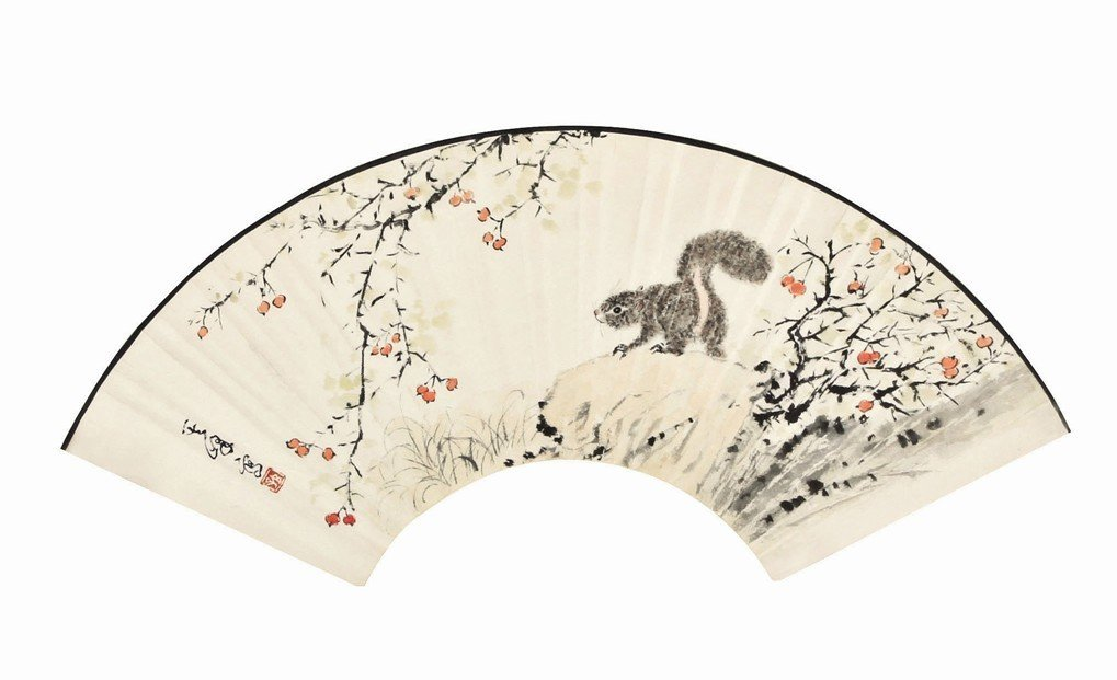 1:Chinese Painting Fan Squirrel