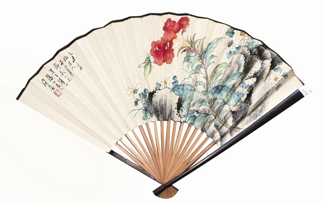 4:Chinese Painting Fan Flowers and Insects