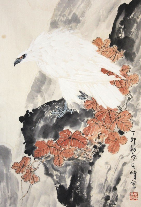 16:Chinese Painting Scroll White Eagle