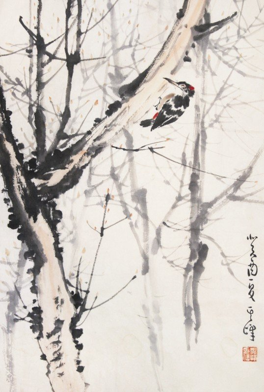 17:Chinese Painting Scroll Woodpecker