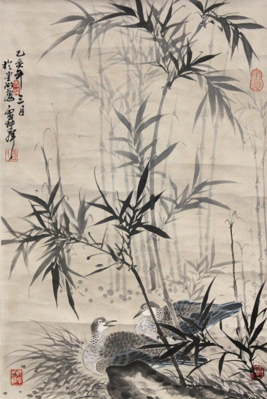 22:Chinese Painting Scroll Bamboo and Birds
