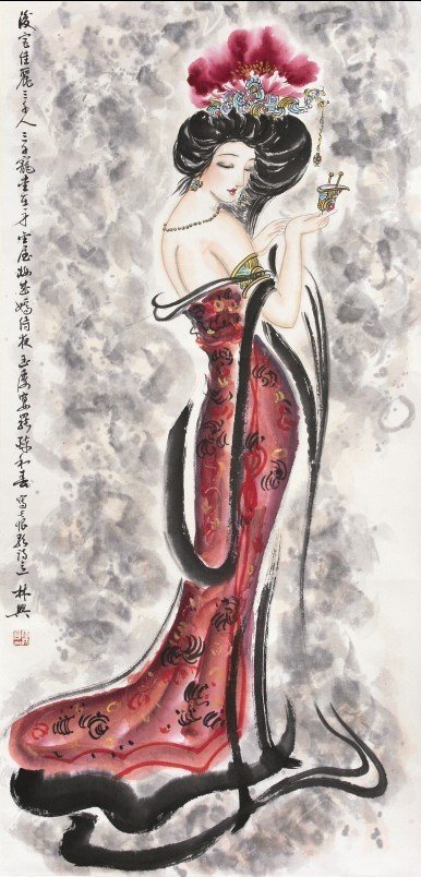 23:Chinese Painting Scroll Chinese Woman