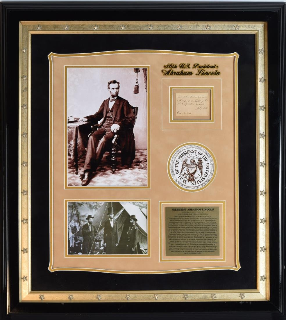 Abraham Lincoln Endorsement for release of Confederate
