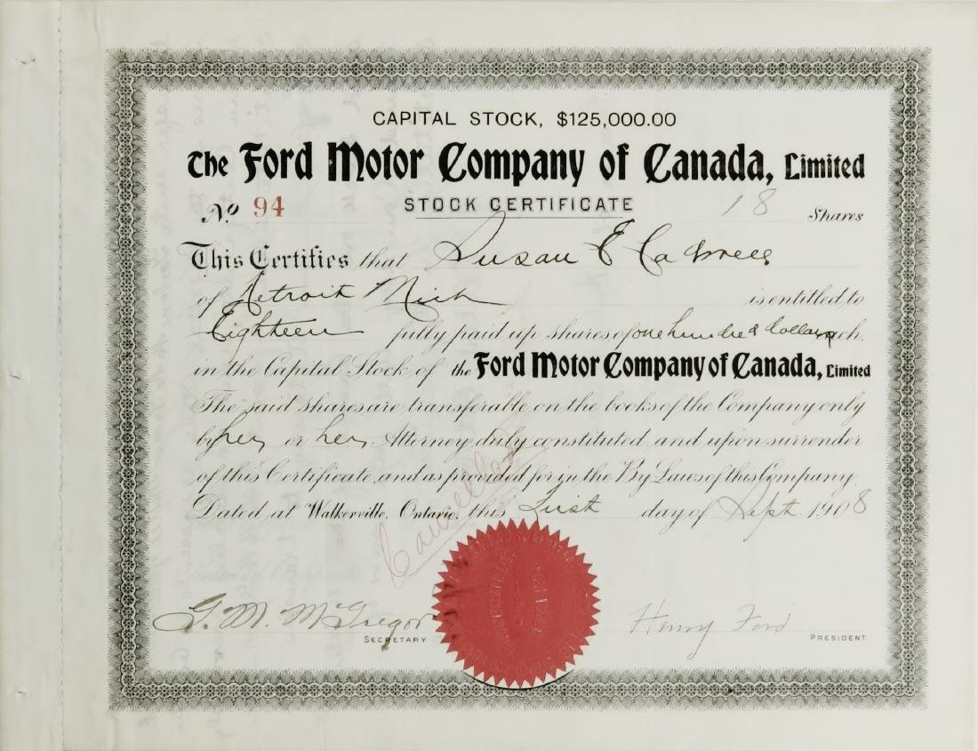 Ford Motor Company of Canada, Limited signed by Henry
